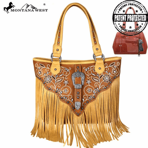 Montana West Fringe Collection Concealed Handgun Tote Brown