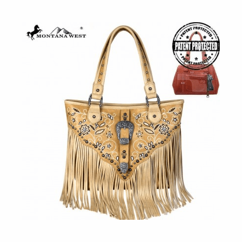 Montana West Fringe Collection Concealed Handgun Tote Tan