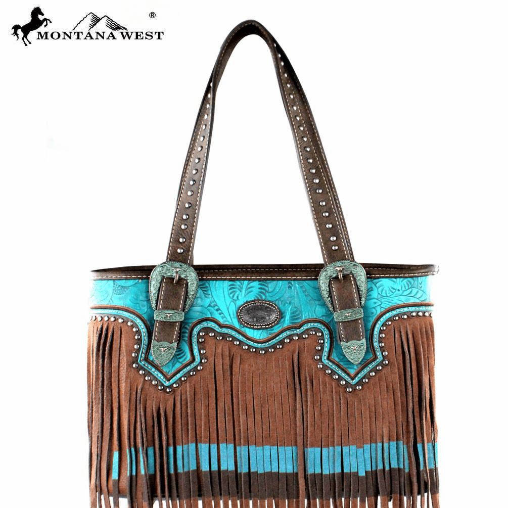 Montana West Fringe Collection Tote Bag Brown