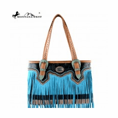 Montana West Fringe Collection Tote Bag Turquoise