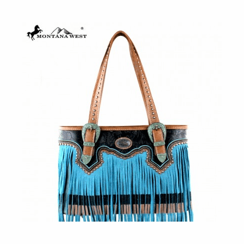 Montana West Fringe Collection Tote Bag Turquoise/Black