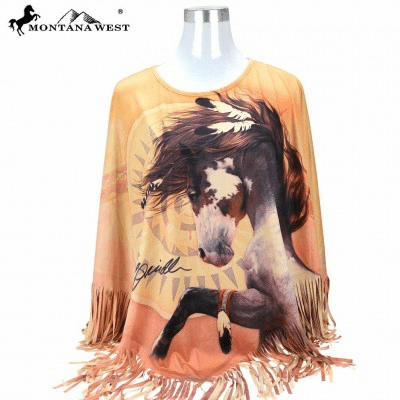 Montana West Horse Collection Poncho o/s