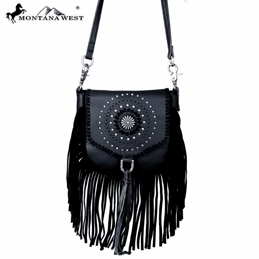 Montana West Real Leather Fringe Cross body Black