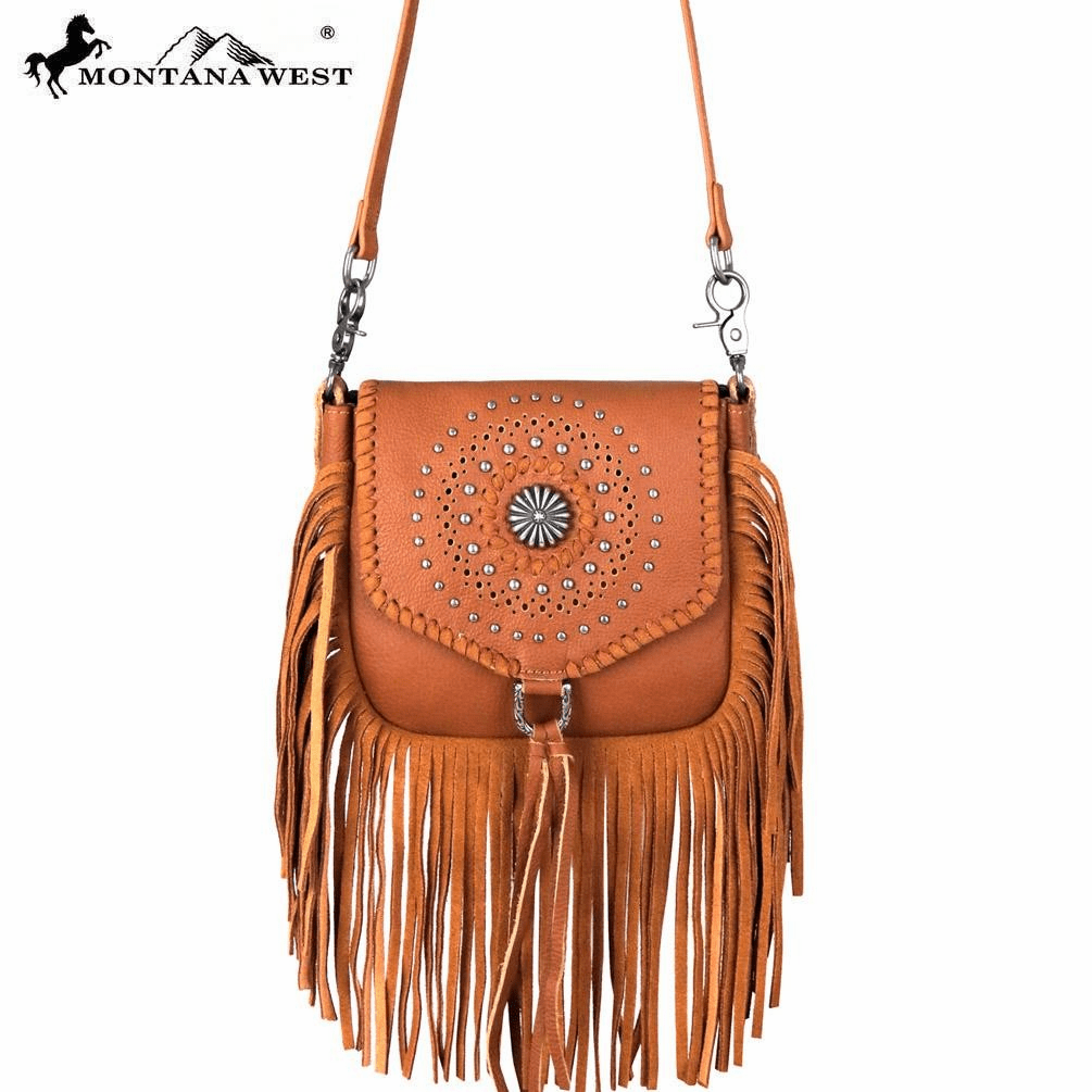 Montana West Real Leather Fringe Cross body Brown