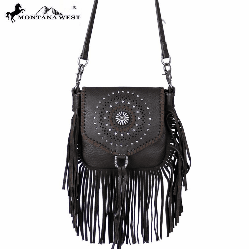 Montana West Real Leather Fringe Cross body Coffee