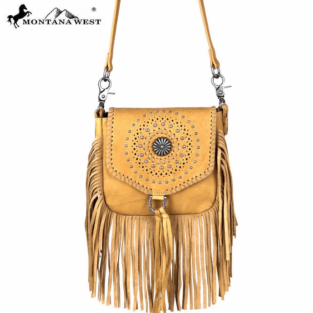 Montana West Real Leather Fringe Cross body Tan
