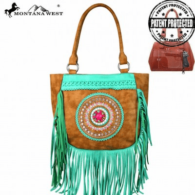 Montana West Tribal Collection Concealed Handgun Tote Brown