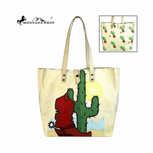 Montana West Wild West Collection Dual Sided Print Canvas Fabric Tote