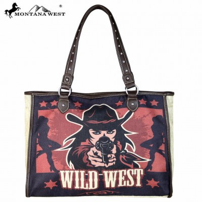 Montana West Wild West Painting Canvas Tote Bag-Tan
