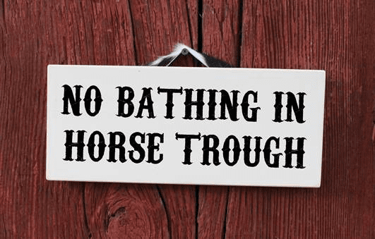 No Bathing in the Horse Trough Sign