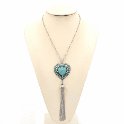 """Novajo 33"""" Necklace With Heart and Tassel-Silver"""
