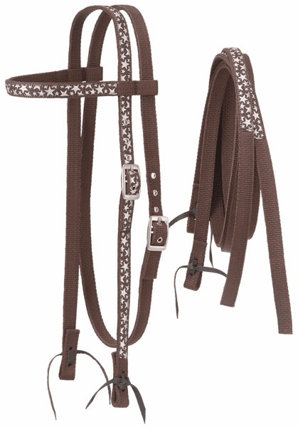 Nylon Browband Headstalls and Reins with Printed Overlay - Brown Stars