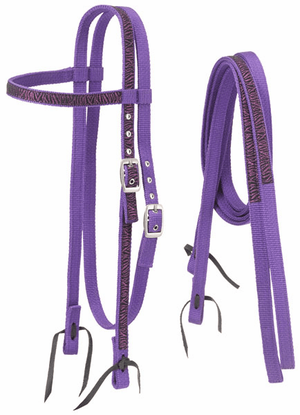 Nylon Browband Headstalls and Reins with Printed Overlay - Purple Zebra