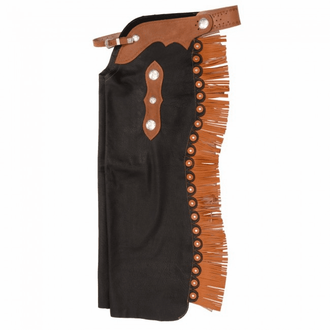 Premium Smooth Leather Custom Cowboy Cutting Chaps - Black