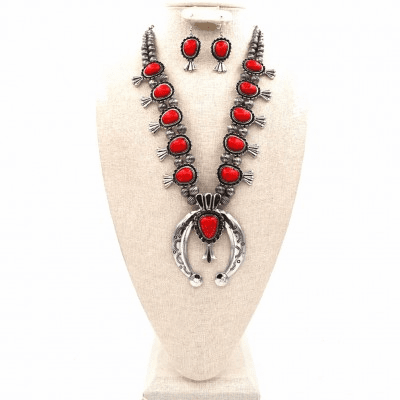 Red Squash Blossom Necklace Set