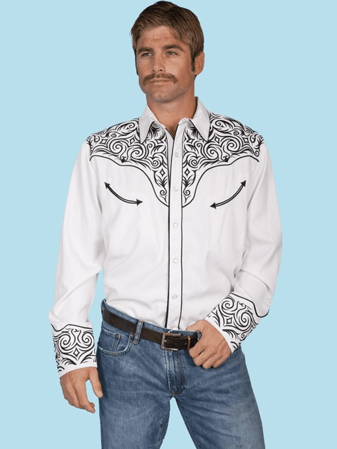 Retro Vintage Western Cowboy Shirt Tribal Scroll
