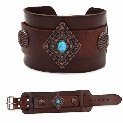 Rhombus with Turquoise Leather Bracelet Silver/Brown