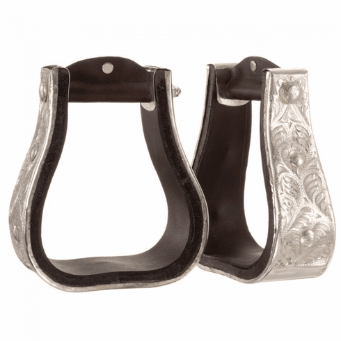 "Royal King Silver 3"" Bell Stirrups Dark Oil"