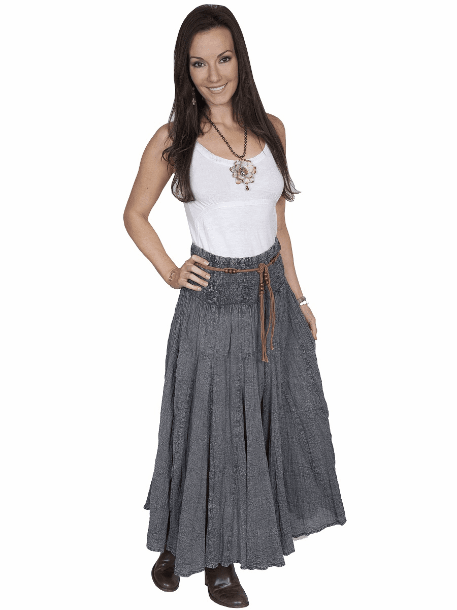 Scully Acid Wash Skirt & Belt Charcoal