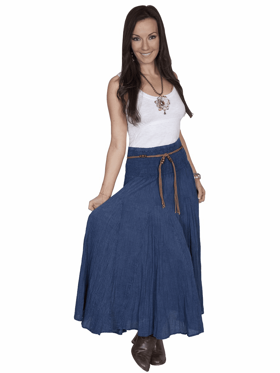 Scully Acid Wash Skirt & Belt  Dark Blue