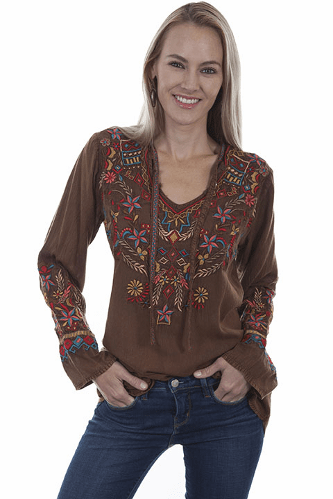 Scully Arty Embroidery Blouse CINNAMON