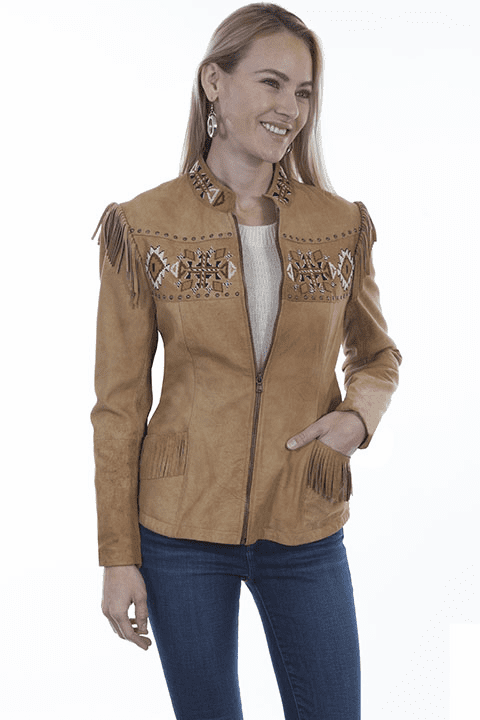 Scully Aztec Beaded and Fringe Leather Jacket