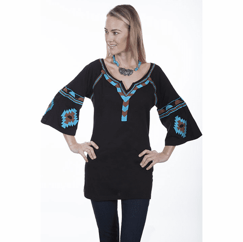 Scully Aztec Tunic V Neck Top Black