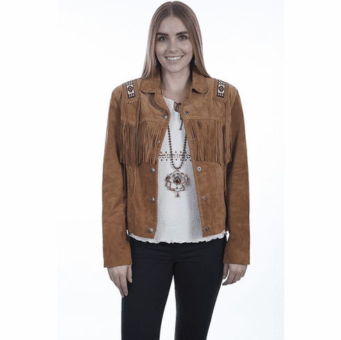 Scully Beaded Trim Suede Jacket