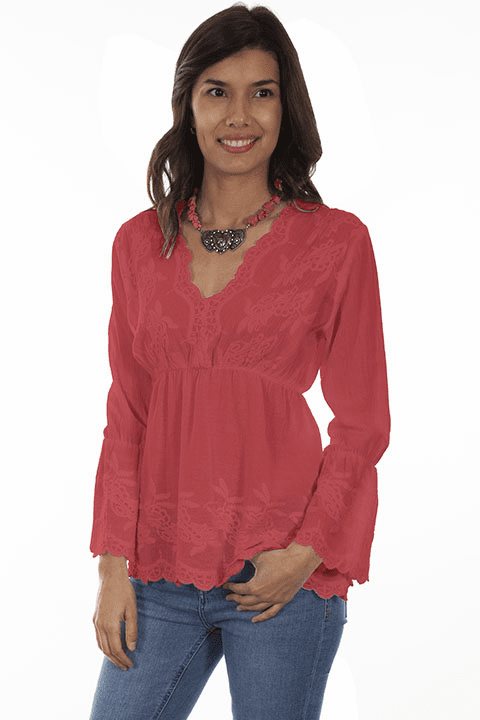 Scully Bell Bottom Sleeve Blouse Brick