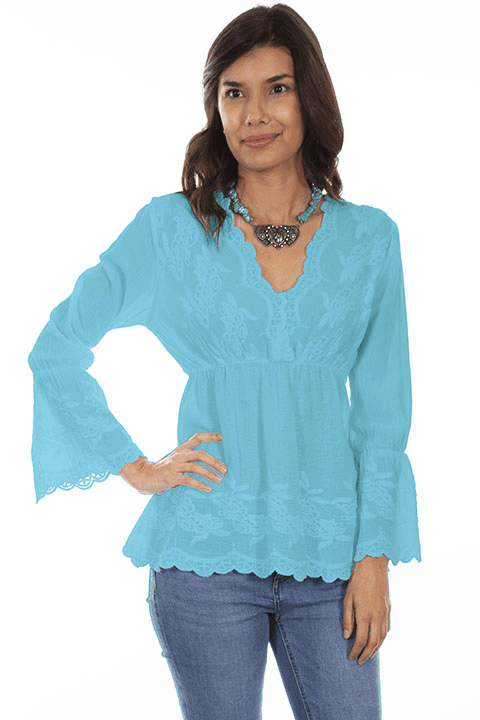 Scully Bell Bottom Sleeve Blouse Turquoise