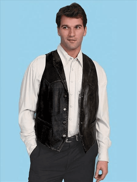 Scully Black Lamb Skin Leather Western Vest