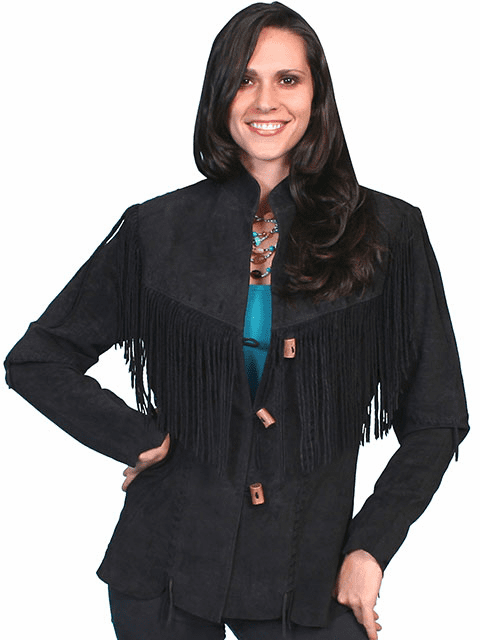 Scully Boar Suede Fringe Jacket  Black