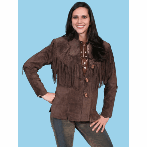 Scully Boar Suede Fringe Jacket - Brown