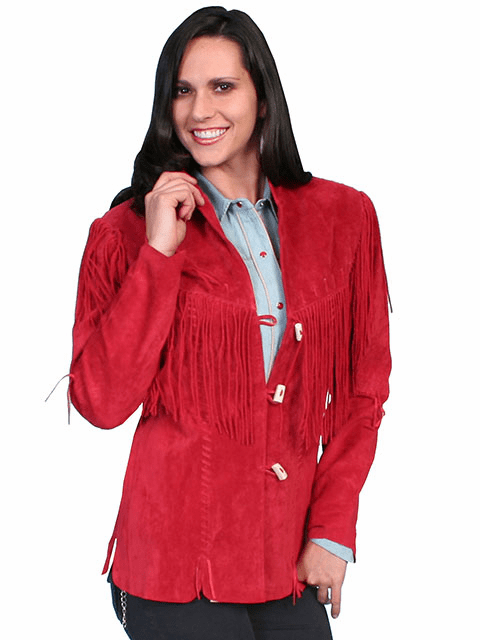 Scully Boar Suede Fringe Jacket - Red*
