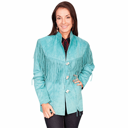 Scully Boar Suede Fringe Jacket Turquoise