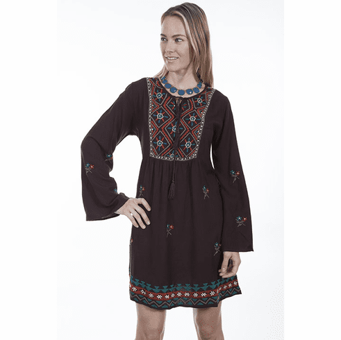 Scully Bohemian Long Sleeve Dress Brown