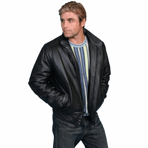 Scully Bomber Leather Jacket - Black
