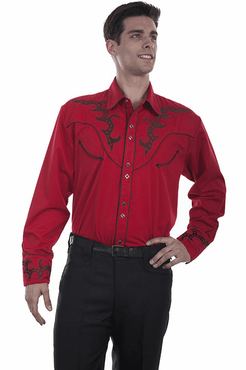 Scully Boot Stitch Western Shirt Red