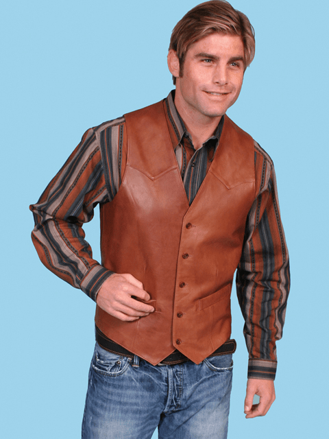 Scully Button Vest - Antique Brown