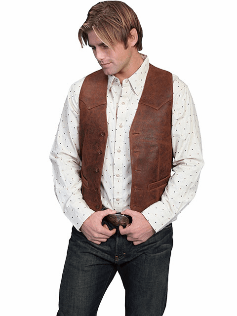 Scully Button Vest - Brown