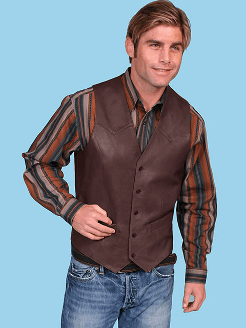 Scully Button Vest - Chocolate
