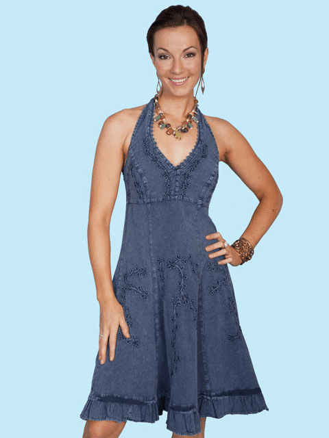 Scully Cantina Collection™ Ladies Halter Sundress w/Ric-Rac Dark Blue
