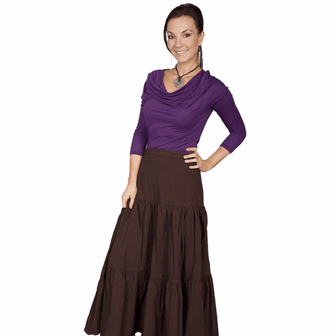 Scully Cantina Cowgirl Tiered Skirt - Brown