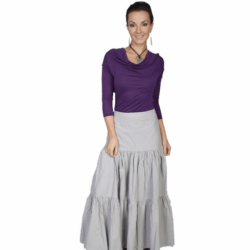 Scully Cantina Cowgirl Tiered Skirt - Grey