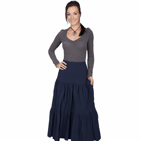 Scully Cantina Cowgirl Tiered Skirt - Navy