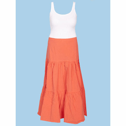 Scully Cantina Cowgirl Tiered Skirt - Orange