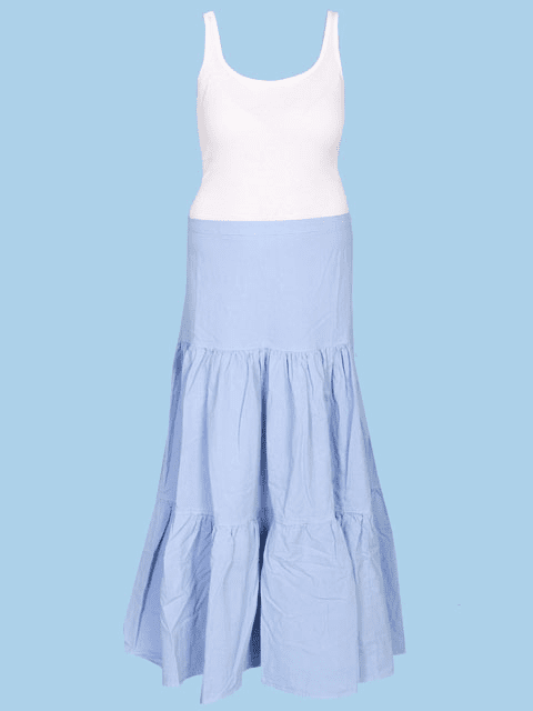 Scully Cantina Cowgirl Tiered Skirt - Powder Blue
