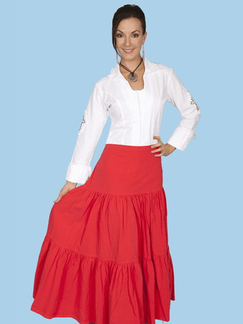 Scully Cantina Cowgirl Tiered Skirt - Vermilion