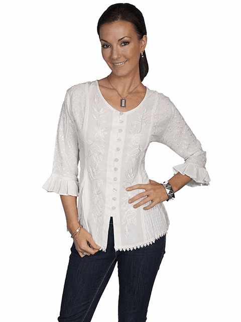 Scully Country Tonal Embroidered Blouse