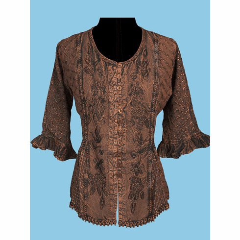 Scully Country Tonal Embroidered Blouse Copper